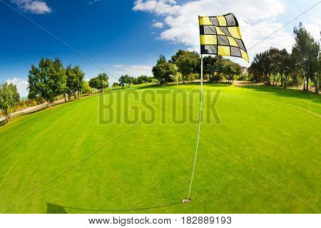 Close-up picture of pin waving in the breeze and cup at the putting green of golf course