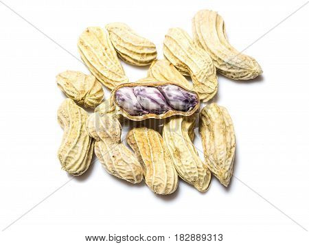 Peanut seed isolated over a white background