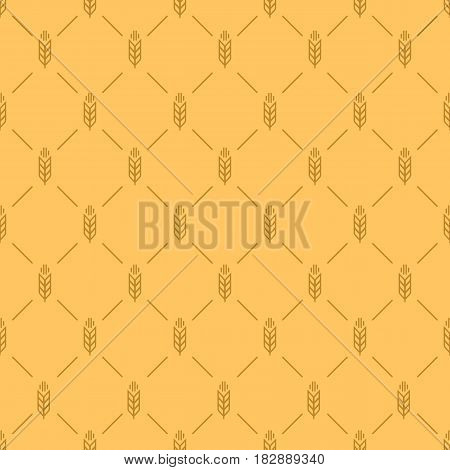 Ear seamless pattern on brown color background for decoration bakery market, natural product store, organic shop, nature firm, ecology company, garden, farming, forest. Vector Illustration