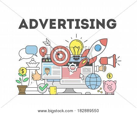 Advertising concept illustration. Signs and icons on white background.