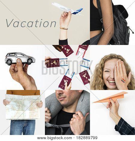 Set of People Traveling Journey Studio Collage