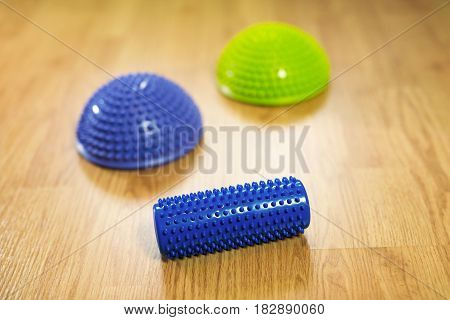Half balance massage balls and spiked rubber roller for flat feet correction