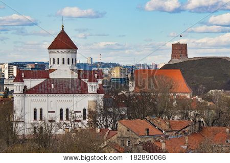 VILNIUS, LITHUANIA . Aerial view at Vilnius. Panorama of Vilnius: Gediminas castle, Neris river, old town and other objects