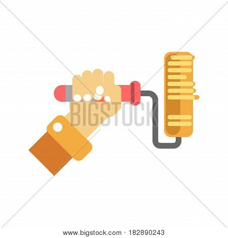 Man's hand holding paint roller in yellow color isolated on white background. Tool for painting with red handle keeps in one arm. Vector illustration of equipment for repair cartoon style for web.
