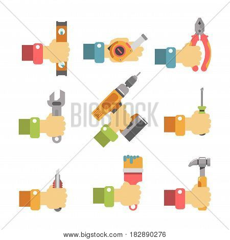 Vector illustration of the hands holding the equipment for repairing and building.