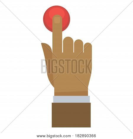 Vector illustration of a hand pressing on red colored button.