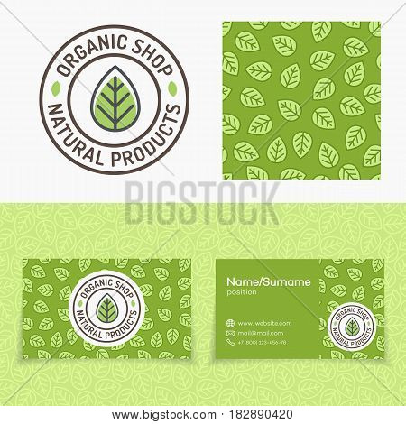 Organic shop set with logo consisting of green leaf, leaves pattern and cards for natural product market, organic shop, ecology company, green unity, nature firm, garden, farming. Vector Illustration