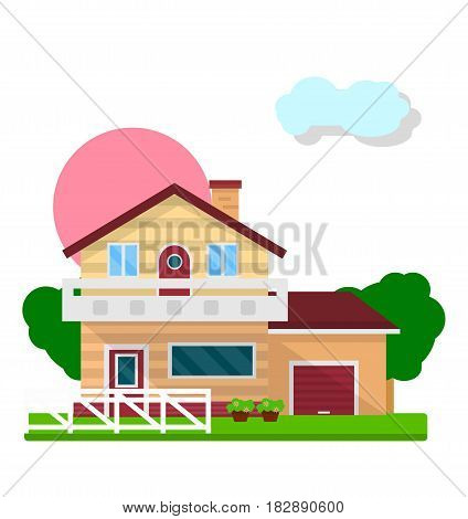 Colorful residential house isolated on white graphic picture. Vector illustration in flat design of two-floored building with white fence, green grass on front yard and tall trees on background.