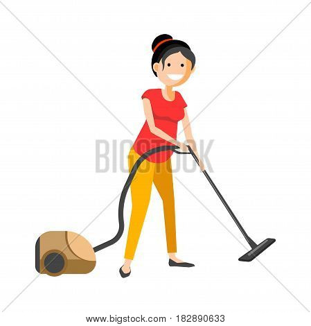Vector illustration of smiling young girl doing a vacuum cleaner work isolated on white.