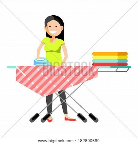 Smiling young woman standing and ironing the clothes isolated on white.
