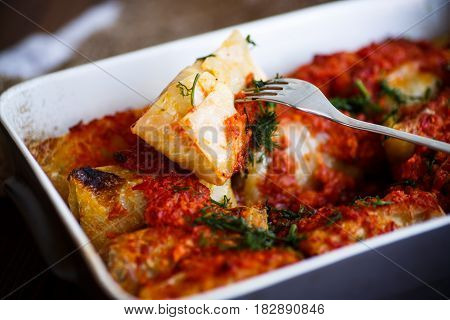 Stuffed cabbage rolls with rice and meat in tomato sauce