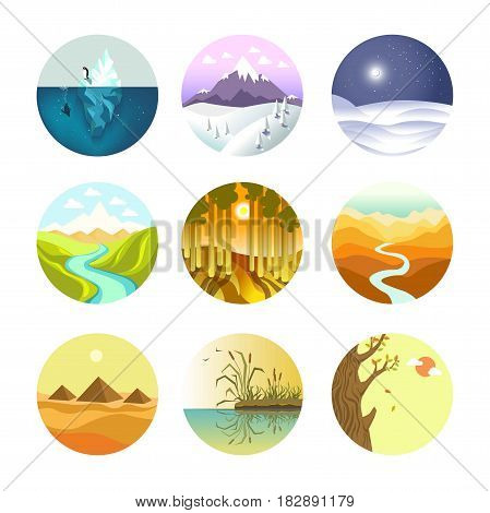 Landscapes round logotypes collection on white vector poster. Banner of colorful nature views of hot, cold, warm and frosty seasons in circular shaped icons. Environment template labels set.