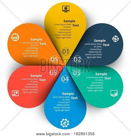 vector abstract 3d paper infographic elements.Circular infographics.6 steps.Petals