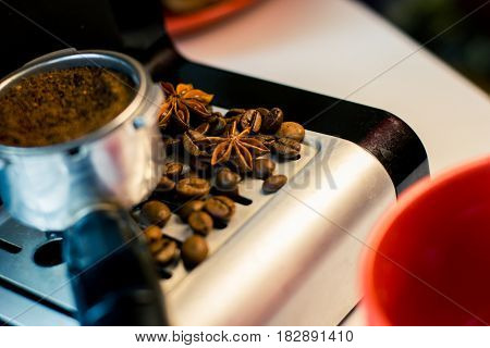 Make fresh coffee in a coffee machine with flavoring