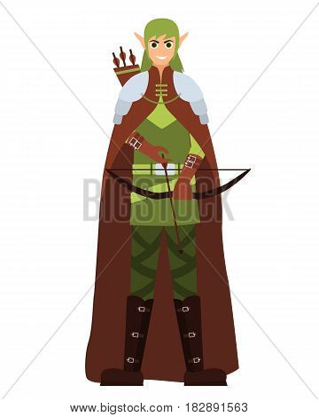 Male elf with a bow and arrow. Flat design. Vector illustration