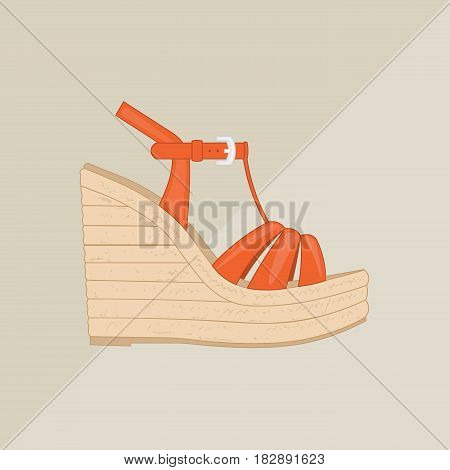 Women's platform sandal vector. Flat icon isolated on background. Red summer shoe.