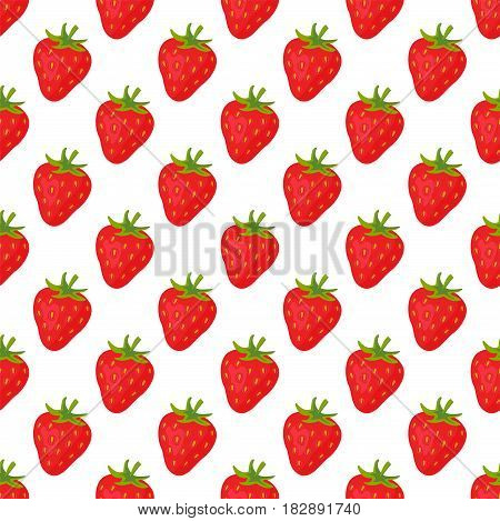 Cartoon fresh strawberry fruits in flat style seamless pattern food summer design wallpaper vector illustration. Vegetarian green tropical ornament vitamin sweet organic background.
