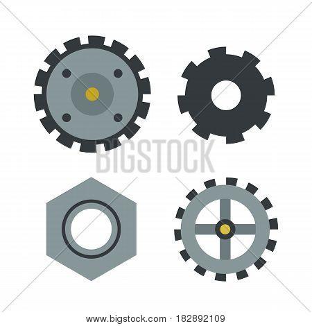 Gear icons isolated vector illustration mechanics web development shape work cog sign. Engine wheel equipment machinery element. Circle turning technical tool.