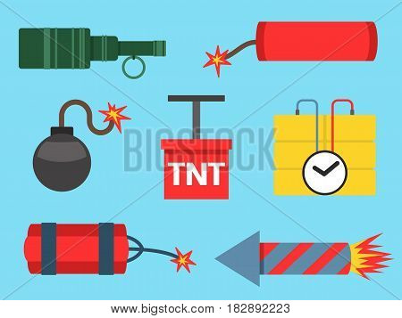 Set of bomb and rockets explosive violence icons illustration. Bomb and rockets military weapon symbol explosive icon. Cartoon atomic danger army destruction fire bomb and rockets.