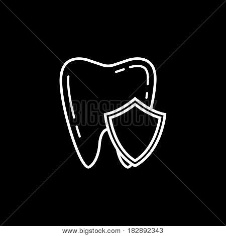 Tooth Protection line icon, Dental and medicine, vector graphics, a linear pattern on a black background, eps 10.