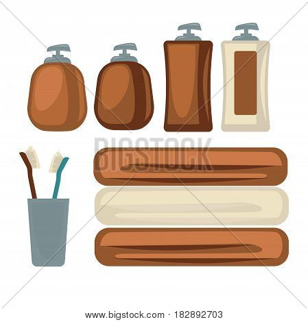 Vector illustration of the brown and beige colored bottles and towels for the bathroom.