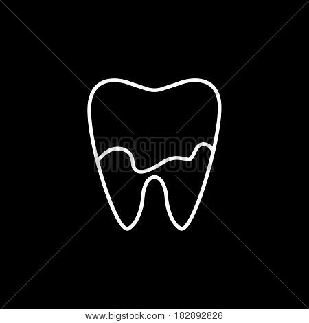 Denatal Plaque line icon, Dental and medicine, tooth sign vector graphics, a linear pattern on a black background, eps 10.