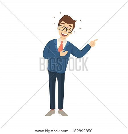 Isolated laughing businessman on white background in suit.