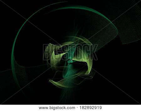 An abstract computer generated modern fractal design on dark background. Abstract fractal color texture. Digital art. Abstract Form & Colors. Abstract fractal element in rotational motion pattern for your design. Isolated on black background.