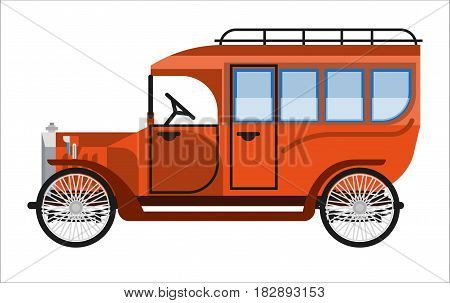 Vintage orange old mini bus isolated on white. Vector colorful illustration in flat design of antique mean of public transportation for carrying passengers. Vehicle for national purposes concept