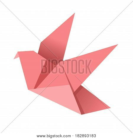 Paper origami pink bird isolated on white vector flat illustration. Flying cardboard handmade creature with wings and beak. Human craftsmanship figure for decorations, toy in oriental style