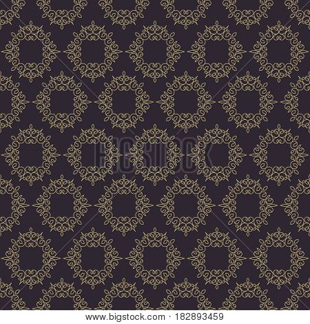 Vintage seamless pattern line style gold color on dark background for use greeting card, banner of hotel, spa service, business offer, wedding invitation etc. Vector Illustration