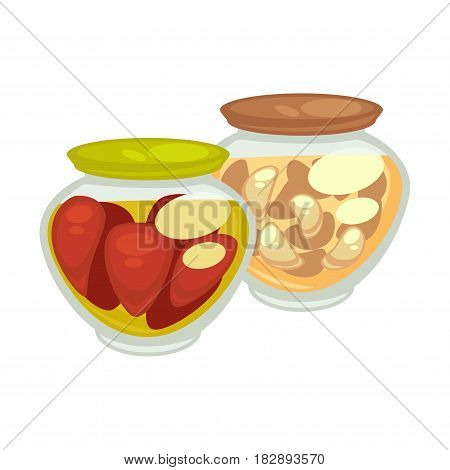 Canned red oblong tomatoes and champignons mushrooms in small jars with green and brown lids on white background. Vector illustration of pickles collection or preservation food for winter flat design.