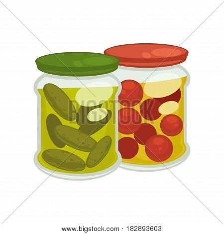 Vector illustration of two jars with pickled tomatoes and cucumbers.