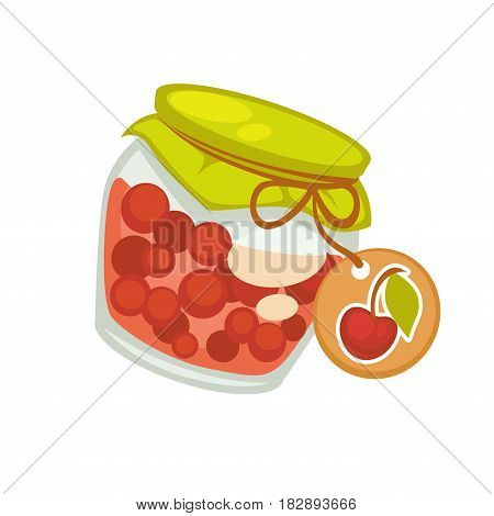 Preserved cherries canned or sealed for long-term storage in glass jar vector illustration isolated on white. Cherry fruits in can with sticker or label of drawn berry in flat style logo design