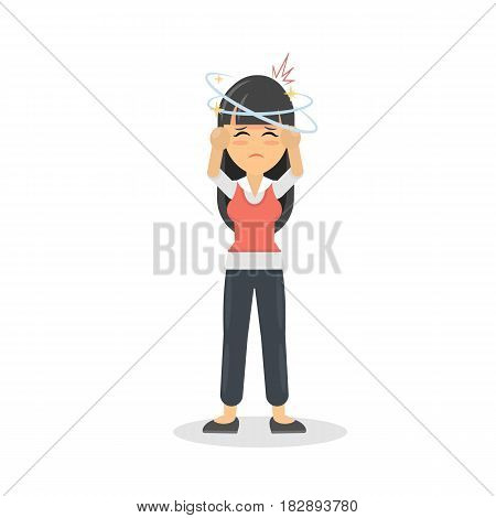Woman with headache. Sick young girl is ill. Isolated character on whte.