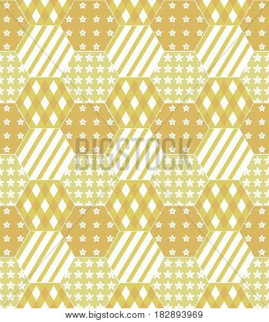 A vector illustration of a patchwork quilt background in shades of yellow