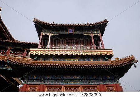 BEIJING - FEBRUARY 25: Beautiful Lama Yonghe Temple in Beijing, China, February 25, 2016.