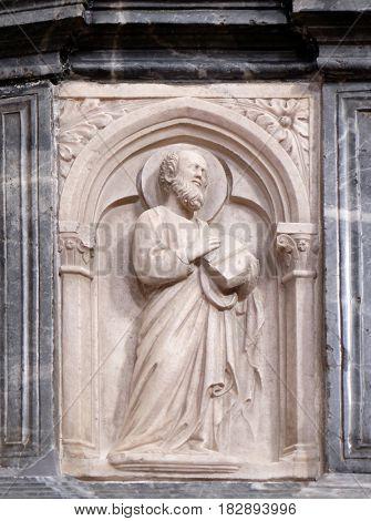 DUBROVNIK, CROATIA - NOVEMBER 30: Saint Paul, altar in Franciscan church of the Friars Minor in Dubrovnik, Croatia on November 30, 2015.