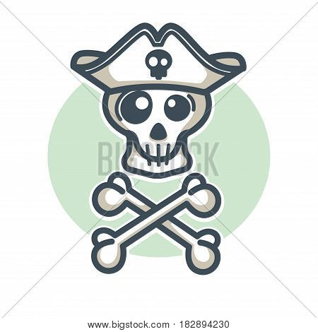 Skull in pirate hat with two crossed bones logo design vector illustration in flat style. Skeleton sticker of dead man with crossbones, head of human, buccaneer tattoo icon on blue button background
