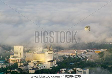 Hatyai city in the fog - a view from the top