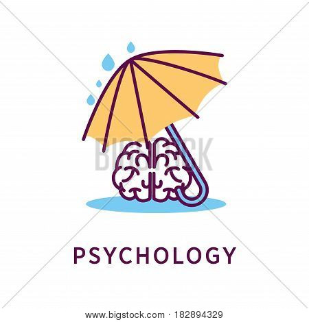 Psychology logo design with human brain under umbrella during rain isolated on white. Intelligence symbol with creative mind icon. Vector illustration in concept of saving knowledge of humanity