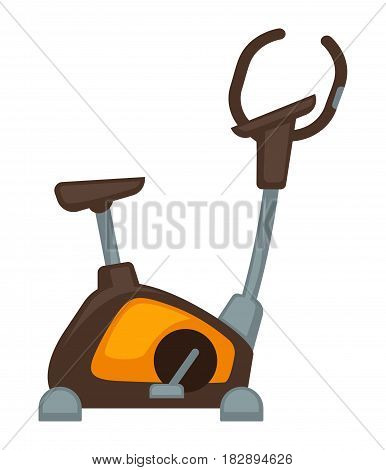 Vector illustration of the orange and brown colored exercycle on the white background.