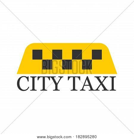 City taxi logotype with checker in yellow and black colors isolated on white. Vector illustration in flat design of delivery passengers service, taxiing template badge for transport private service