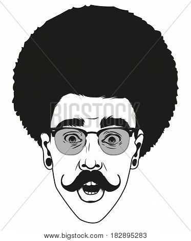 Hipster a man with a mustache looks surprised. Portrait of young man with shocked facial expression. Black and white handdrawn vector illustration.
