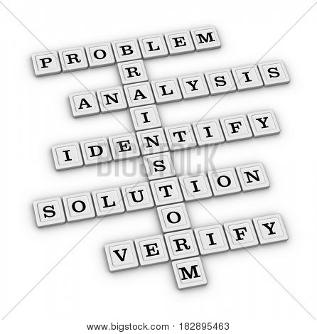Problem Solving Steps Crossword Puzzle Brainstorm 3D illustration isolated on white background.