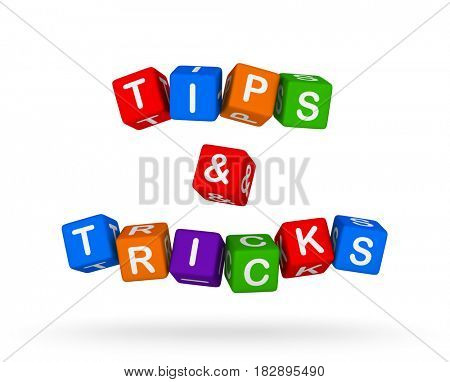 Tips and Tricks Colorful Sign isolated on white background. Education, 3D illustration.