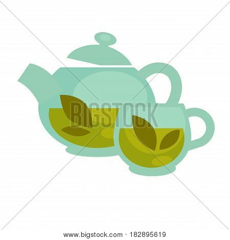 Vector illustration of the clear teapot and a cup with the herbs inside.