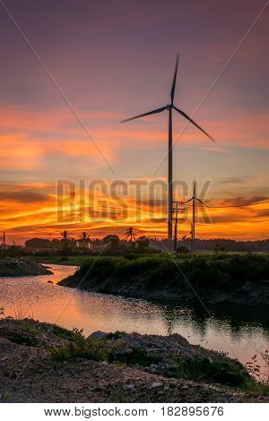 Wind turbines and Twilight backdrop Songkhla Thailand