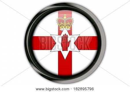 Northen Ireland  Flag In The Button Pin Isolated On White Background