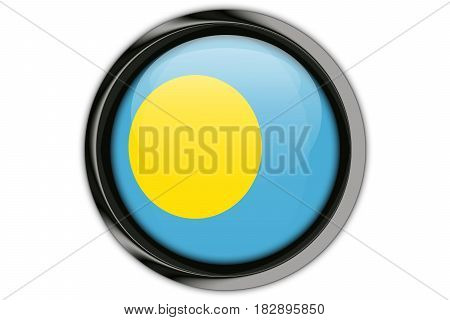Palau  Flag In The Button Pin Isolated On White Background